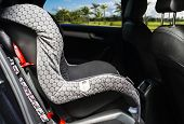 Child Safety Seat In The Back Of The Car. Baby Car Seat For Safety. Car Interior. Car Detailing poster