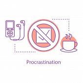 Procrastination Concept Icon. Wasting Time Idea Thin Line Illustration. Laziness. Vector Isolated Ou poster