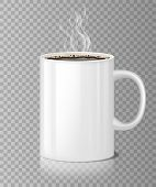 Coffee Or Tea Cup Mockup With White Steam Isolated. Black Coffee In Ceramic Cup, Morning Blank Reali poster