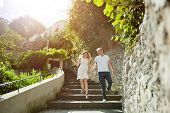 Young Smiling Tender Romantic Couple In Positano, Italy - Love Concept poster