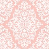 Seamless Geometric Vector Pattern. Modern Ornament With Stars. Geometric Abstract Pink And White Pat poster