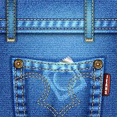 pic of condom  - Jeans Texture with Pocket Rivets and Condom vector illustration - JPG