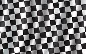 Checkered Flag 3d Background. Vector Wavy Start Or Finish Flag With Checker Pattern Of Car Racing, R poster
