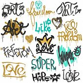 Graffiti Vector Street Art Graffity Grunge Font By Spray Or Brush Stroke On Wall Illustration Urban  poster