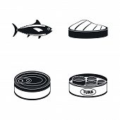 Tuna Fish Can Steak Icons Set. Simple Illustration Of 4 Tuna Fish Can Steak Icons For Web poster