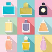 Fragrance Bottles Aroma Flavor Perfume Icons Set. Flat Illustration Of 9 Fragrance Bottles Aroma Fla poster