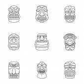 African Culture Icons Set. Outline Set Of 9 African Culture Icons For Web Isolated On White Backgrou poster