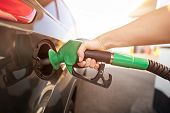 Closeup Of Man Pumping Gasoline Fuel In Car At Gas Station poster