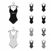 Different Kinds Of Swimsuits. Swimsuits Set Collection Icons In Black, Monochrome Style Vector Symbo poster