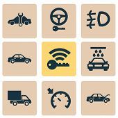 Automobile Icons Set With Foglight, Signal, Service And Other Automobile Elements. Isolated  Illustr poster