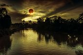 Amazing Scientific Natural Phenomenon. The Moon Covering The Sun. Total Solar Eclipse With Diamond R poster