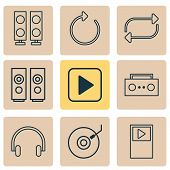 Audio Icons Set With Musical Device, Dj Disc, Repeat And Other Reload Elements. Isolated  Illustrati poster