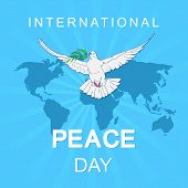 International Day Of Peace. Peace Dove With Olive Branch For International Peace Day Poster. Poster  poster