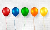 Balloon Vector. Realistic Flying Birthday Helium Balloon. Isolated On Transparent Background. Party  poster