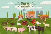 Farm Animals And Birds Set In Trendy Cute Style, Including Horse, Cow, Donkey, Sheep, Goat, Pig, Rab poster