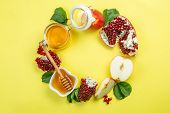 Rosh Hashana Jewish Holiday Concept - Apples, Honey, Pomegranate poster