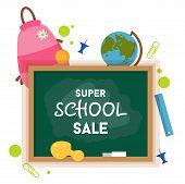 School Sale Label, Badge. School Sale Background. Sale Tag. Vector Illustration. Typography Emblem.  poster