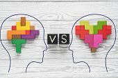 Heart Vs Mind. Heart Versus Brain. Concept Of Mind Against Love. Heads Of Two People With Colourful  poster