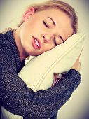 Sleep Time, Warm Bedding, Tiredness Concept. Happy Sleepy Tired Woman Smiling And Holding Cozy White poster
