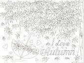 Maple Tree, Falling Maple Leaves Sketch, Umbrella Monochrome Romantic Background Lettering I Love Au poster