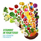 Rainbow Color Diet For Healthy Nutrition And Natural Food Eating Program. Vector Vitamins And Minera poster