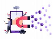 Social Media Ultra Violet Concept Vector Illustration With Magnet Engaging Followers And Likes. Inbo poster