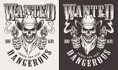 Wanted Cowboy Print With Skull In Vintage Style. Vector Illustration poster