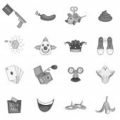 April Fools Day Icons Set. Gray Monochrome Illustration Of 16 April Fools Day Icons For Web poster