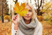 Autumn Woman With Fall Leaf Walking Outdoors poster