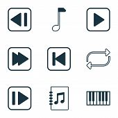 Audio Icons Set With Forward Music, Next Song, Repeat And Other Tune List Elements. Isolated Vector  poster