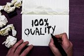 Word Writing Text 100 Quality. Business Concept For Guaranteed Pure And No Harmful Chemicals Top Exc poster