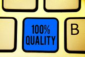 Conceptual Hand Writing Showing 100 Quality. Business Photo Text Guaranteed Pure And No Harmful Chem poster