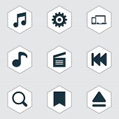 Media Icons Set With Previous, Movie Clap, Gadget And Other Top Elements. Isolated Vector Illustrati poster