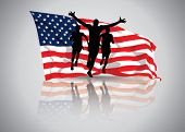 image of waving american flag  - Vector Illustration of a man winning a race in front of waving american flag - JPG