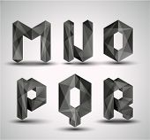 Trendy Black Fractal Geometric Alphabet. MNOPQR, Vector Illustration.