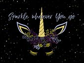 Unicorn Head Cute Illustration With Sparkles Stars - Card And T Shirt Print Design. Funny Unicorn Pr poster