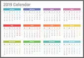 Calendar For 2019 Starts Monday, Vector Calendar Design 2019 Year poster
