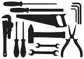 Vector Black Silhouettes of Hand Tools Kit