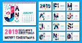 Wall Monthly Calendar Template 2019. Horizontal Monthly Calendar Template, Lettering Typography.  Bl poster