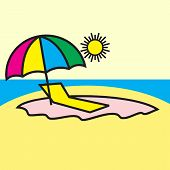 Icon Chaise Lounge The Beach Lounge Chair Beach Vacation Beach Beach Umbrella Paralytic On The Beach poster