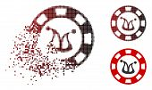 Joker Casino Chip Icon In Sparkle, Pixelated Halftone And Undamaged Entire Versions. Elements Are Gr poster