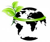 picture of environmentally friendly  - Earth wearing a green band with fresh leaves - JPG