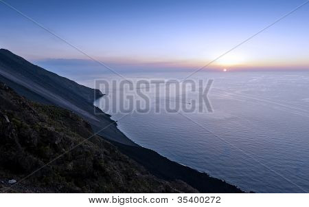 Mount Stromboli And Sunset