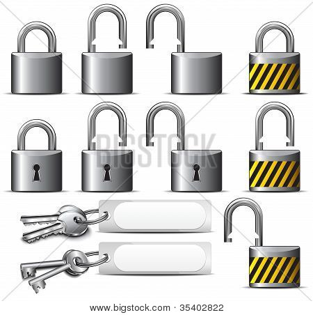 Padlock And Key - A Set Of Padlocks And Keys In Steel