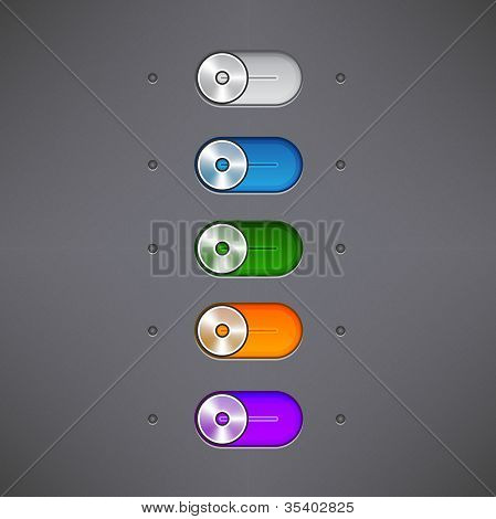 Simple Set Of Switch Buttons, Set Of On/off Switch Buttons And Rollovers