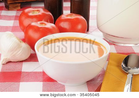 Tomato Bisque With Ingredients
