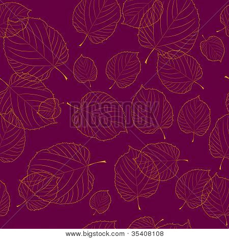 Seamless pattern of autumn leaves on the bordeaux background