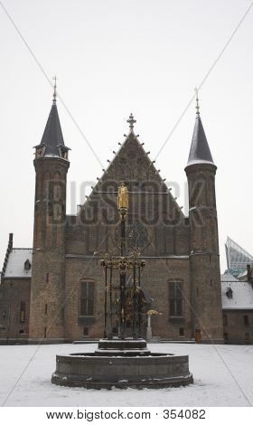 Ridderzaal In The Snow (the Hague, Netherlands)