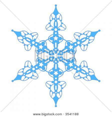 Blue Snowflake With Stars
