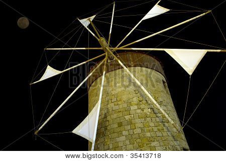 Windmil At Night, Rhodes, Greece